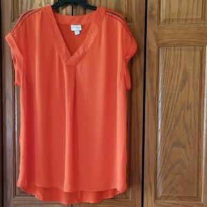 • Ava & Viv • Orange Tunic w/ Cuffed Cap Sleeve